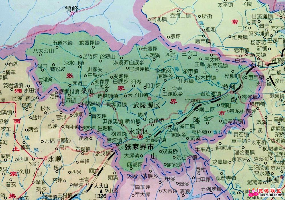张家界茅岩河旅游地图_张家界旅游地图全图,湖南张家界旅游地图; 一