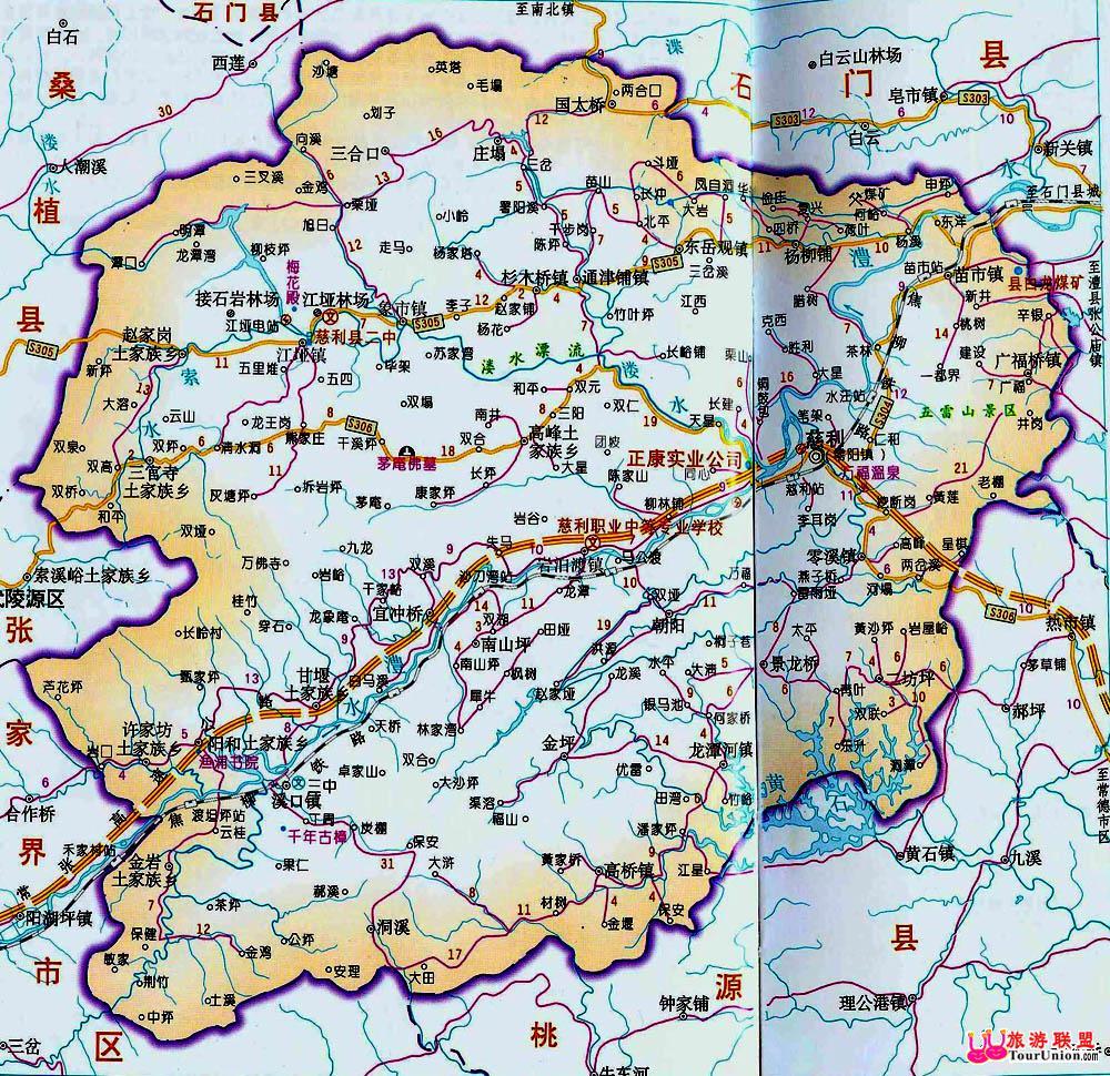 湖南张家界地图