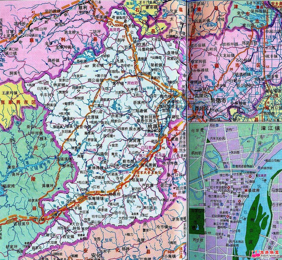 桃源交通图;; 桃源电子地图·桃源风光图库·图行常德·图行; 常德图片