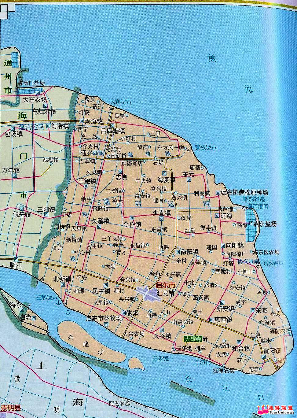 启东行政地图