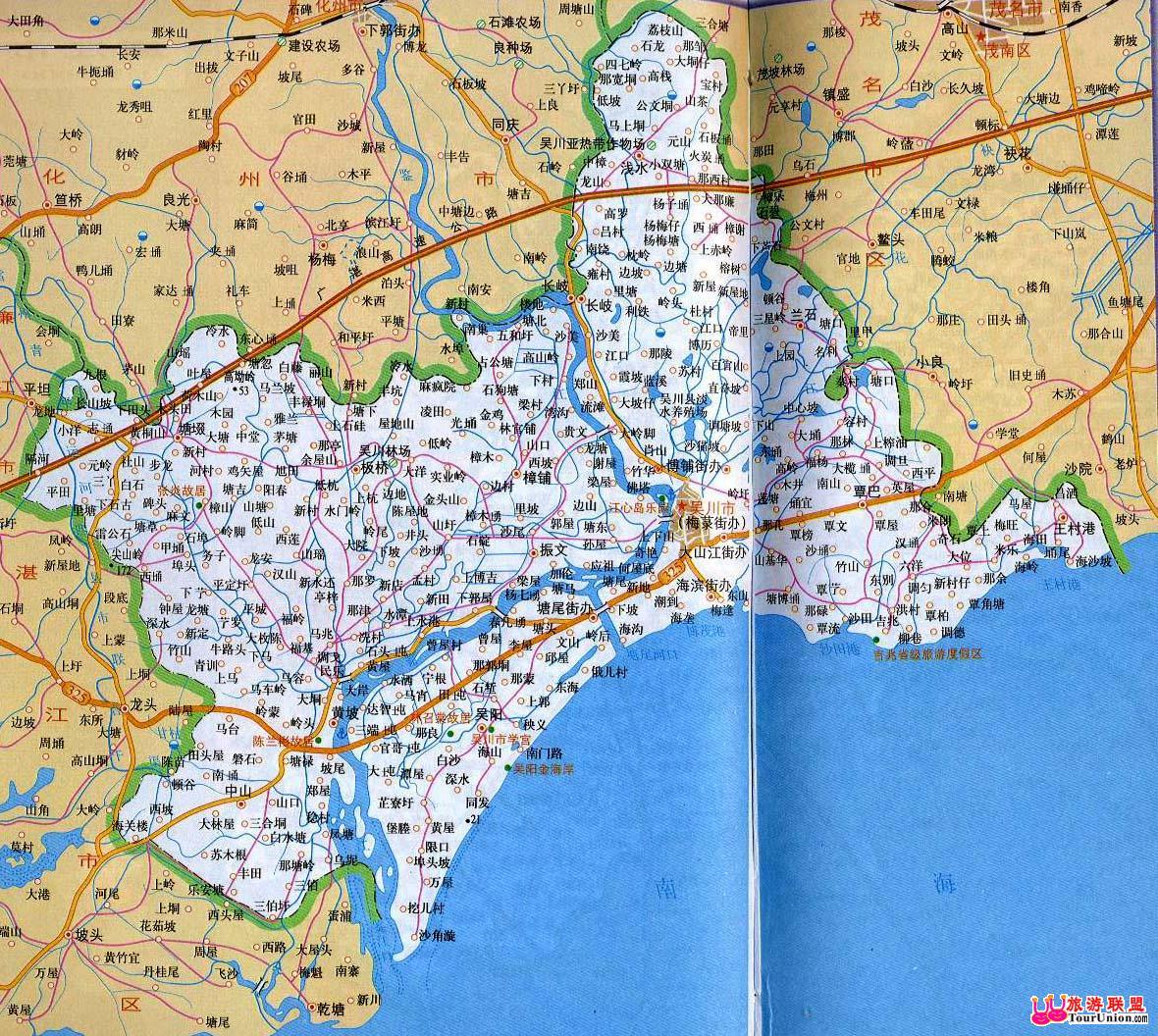 湛江市吴川市地图