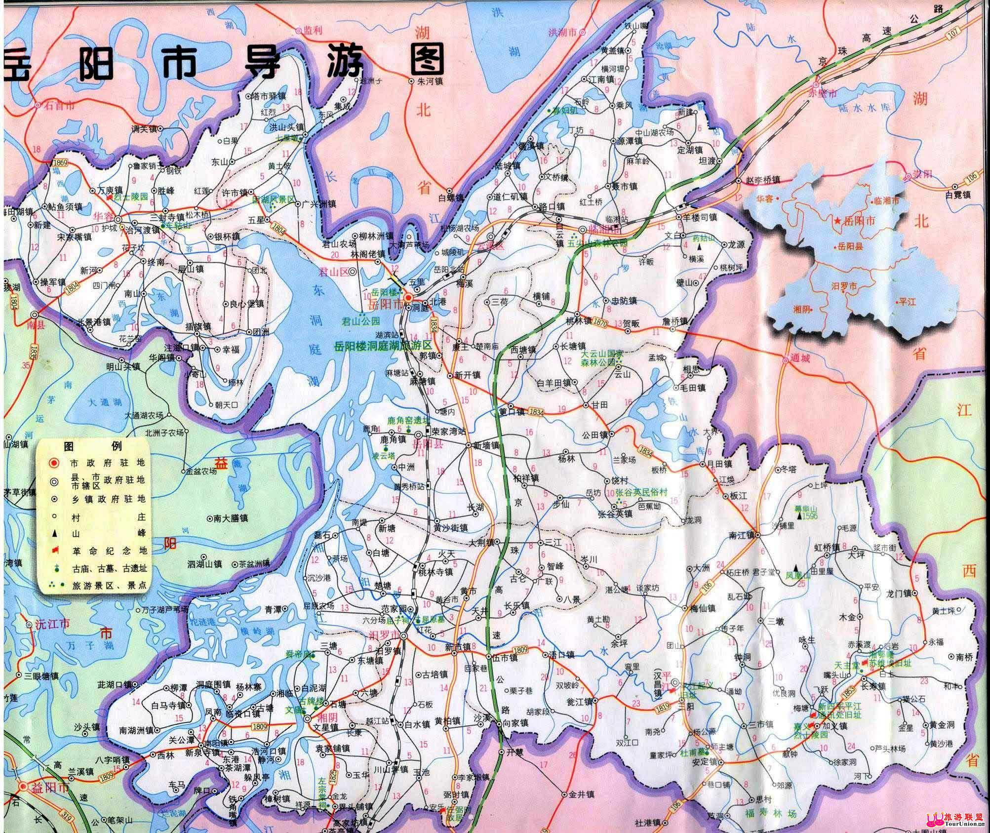岳阳平江县行政规划地图