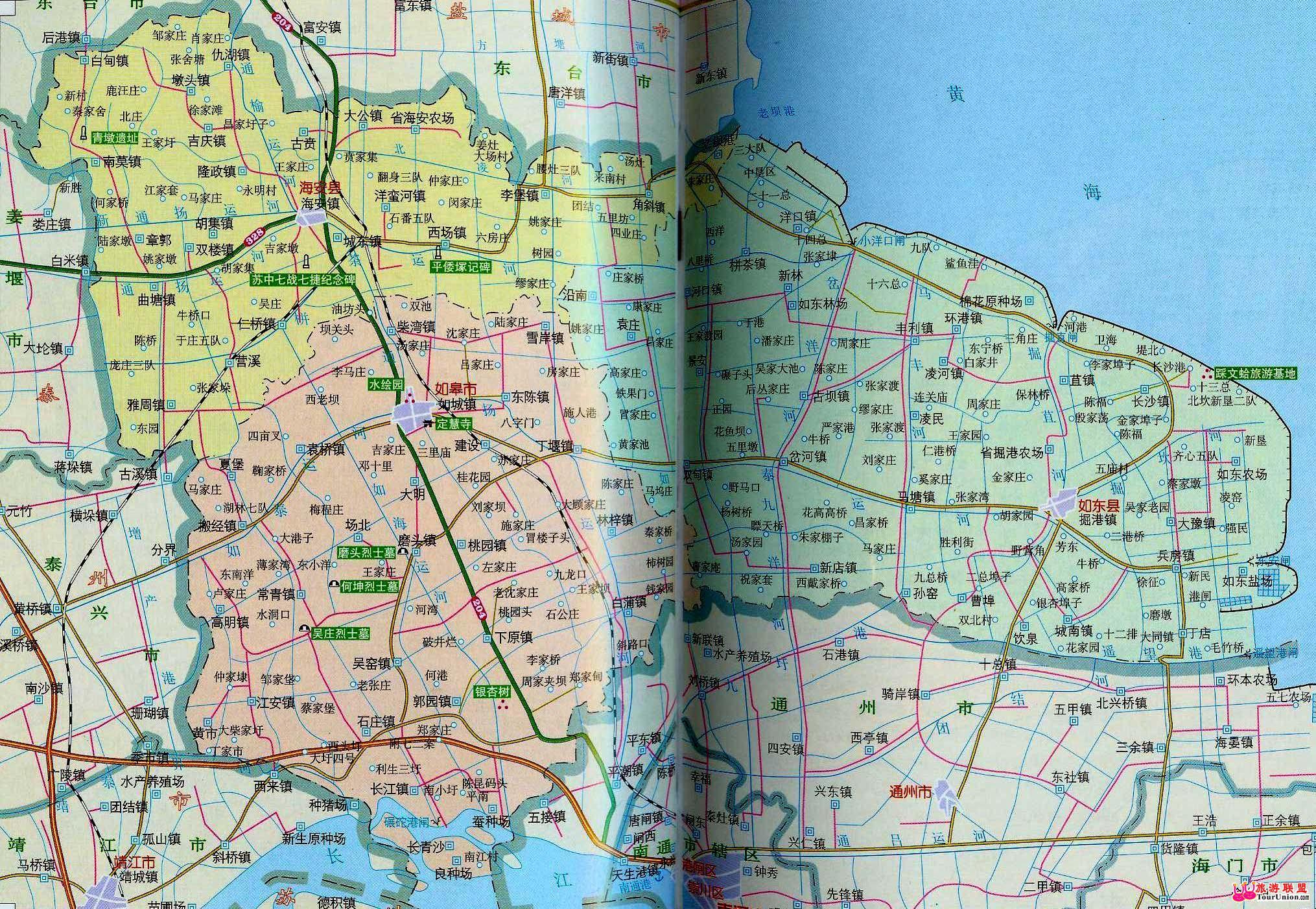 南通旅游地图