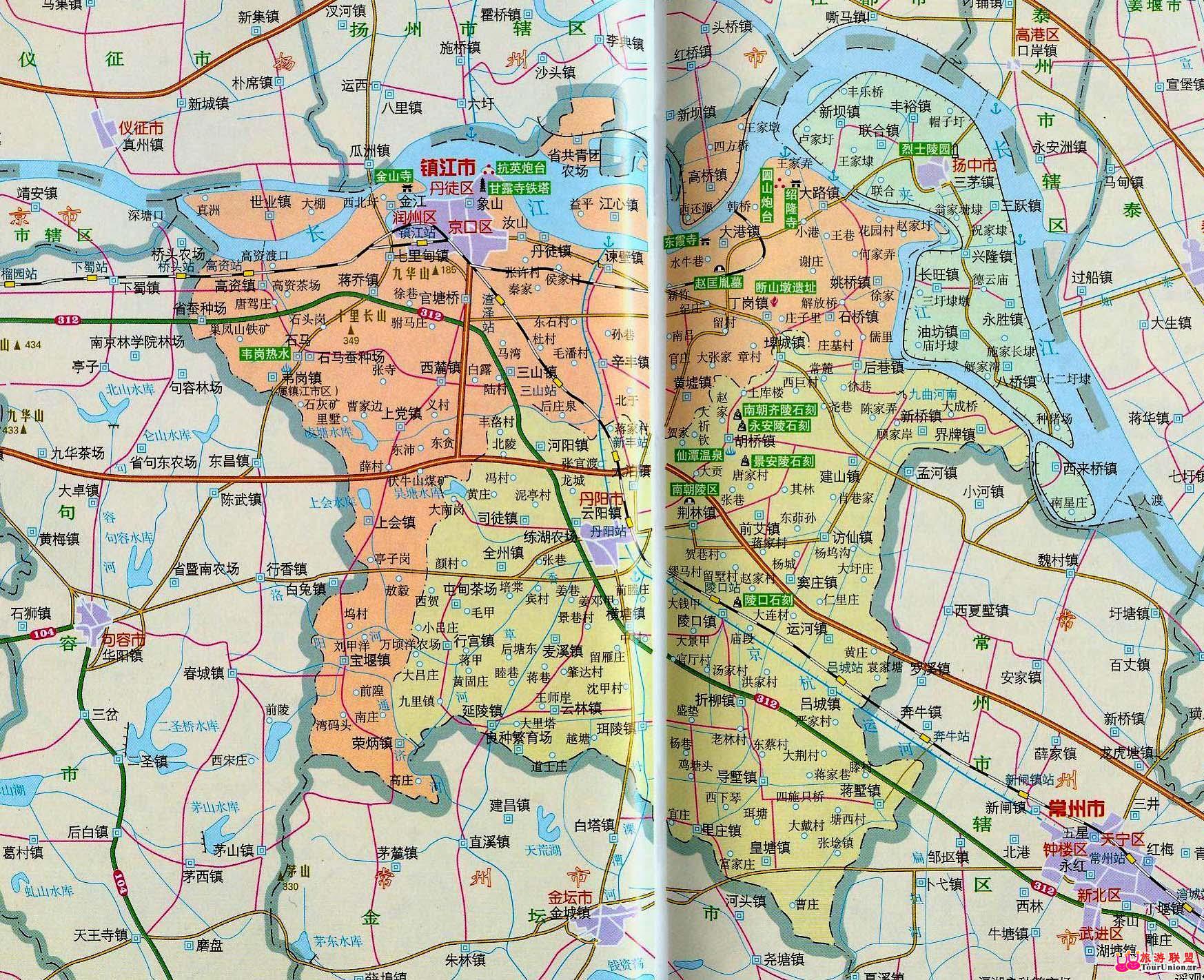 镇江旅游地图
